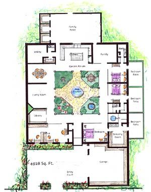 The Plans Courtyard House Plans Atrium House Luxury House Plans