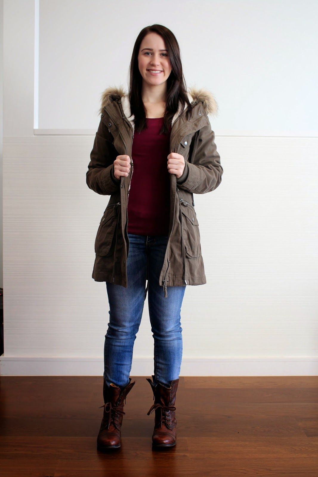 Casual winter day outfit khaki jacket jeans u0026 combat boots | Brieu0026#39;s Petite World | Pinterest ...