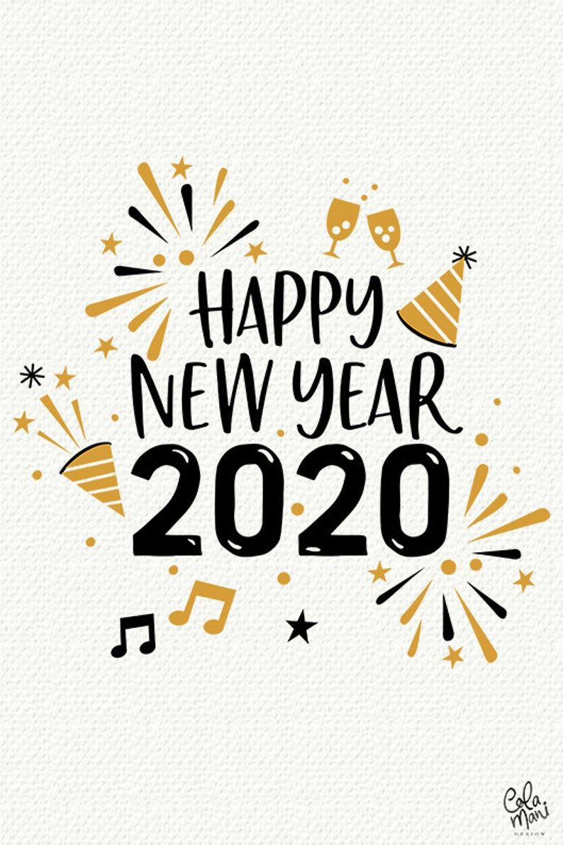 New Year 2020 SVG DXF PNG, Silhouette Cameo, Happy New