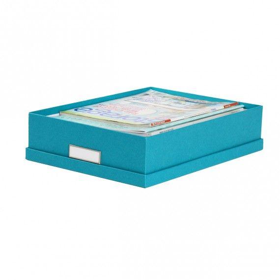 Boite De Rangement A4 En Carton Turquoise Rangement Bureau Boite De Rangement Boite Papier Lamine