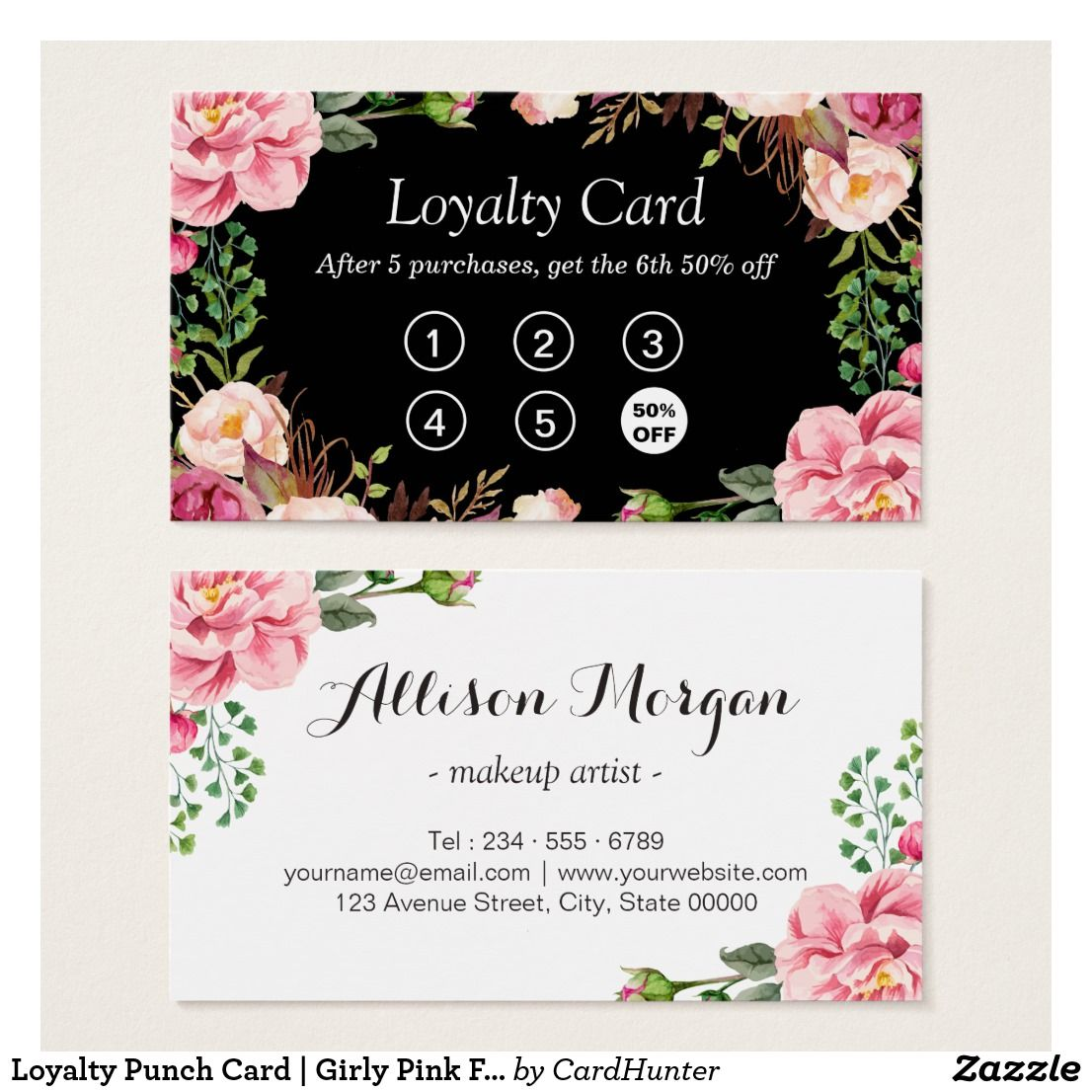 Loyalty Punch Card Girly Pink Floral Wrapping Zazzle
