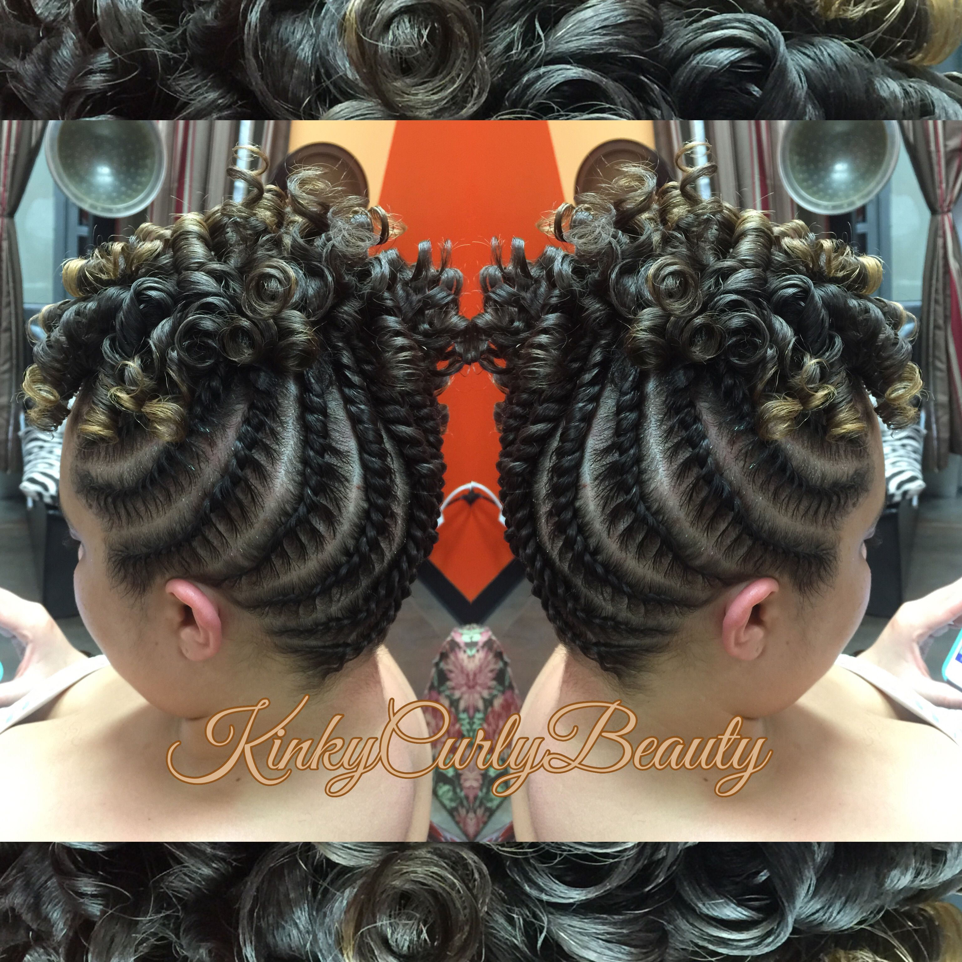 flat twist updo with rods hair
