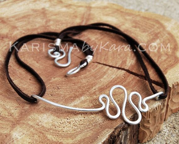 Squiggle Necklace Assymetrical Silver Aluminum Wire Jewelry