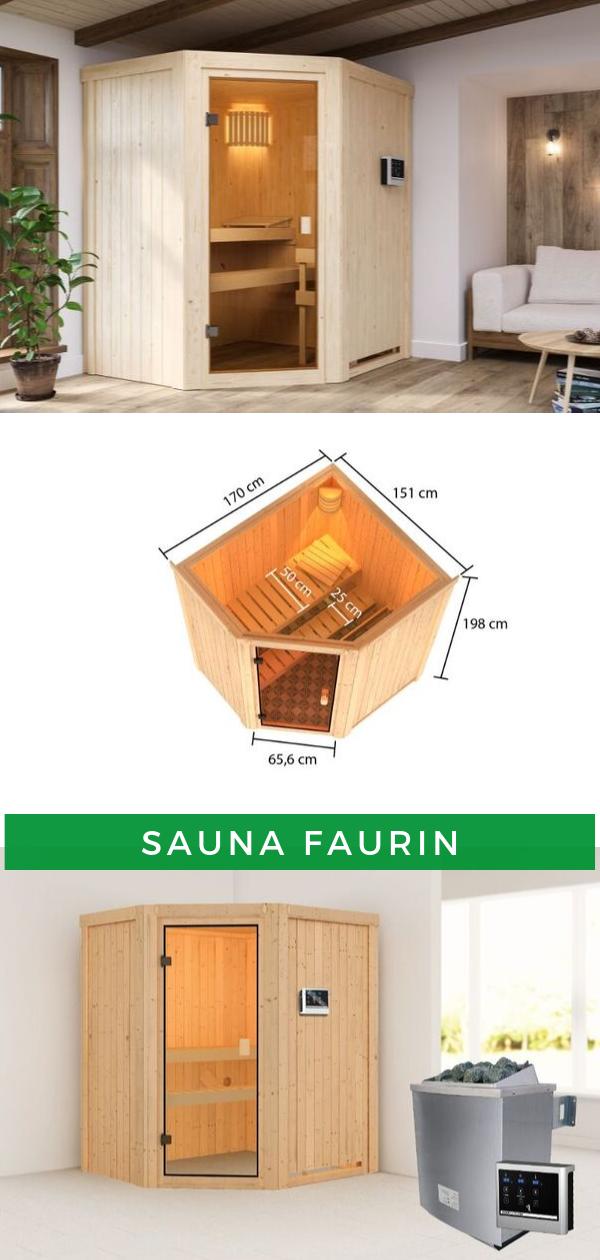 Karibu Woodfeeling Sauna Faurin mit Eckeinstieg (mit