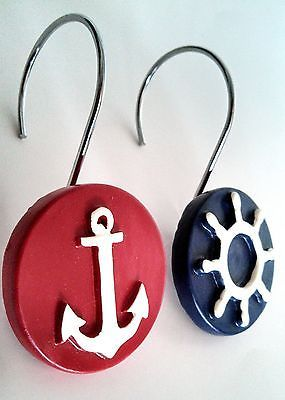 New 12 Nautical Anchor Ships Wheel Resin Shower Curtain Hooks Navy