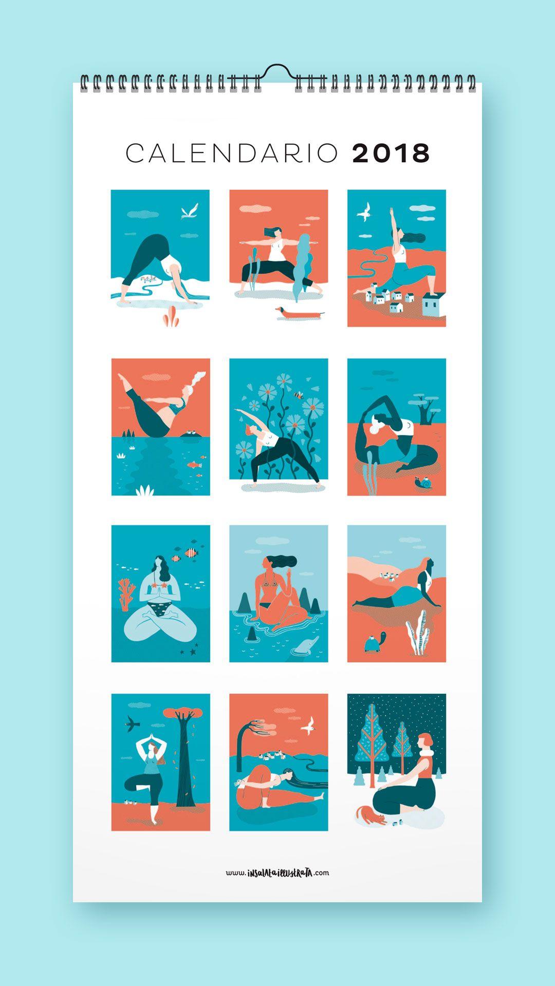 Calendario Illustrato.Calendario Yoga 2018 Calendario Illustrato Illustrazioni