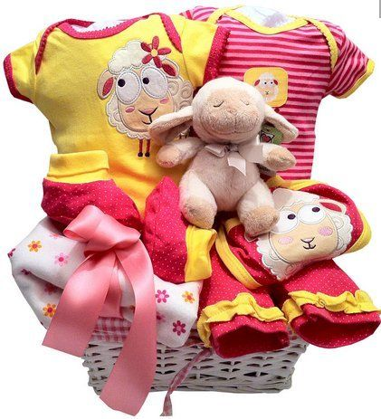 Baby girl great gift basket, with plush,blanket, 5 pcs baby set. Comes with hand made bow. Read more http://shopkids.ca/gift-cards/cool-baby-girl-basket/