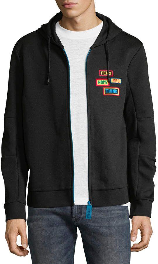 da63bc22 Fendi Men's Patch Detail Zip Hoodie | Products | Mens fashion ...