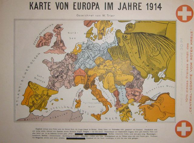 Walter Trier\'s map of Europe, 1914 | Painting | Pinterest | Map ...