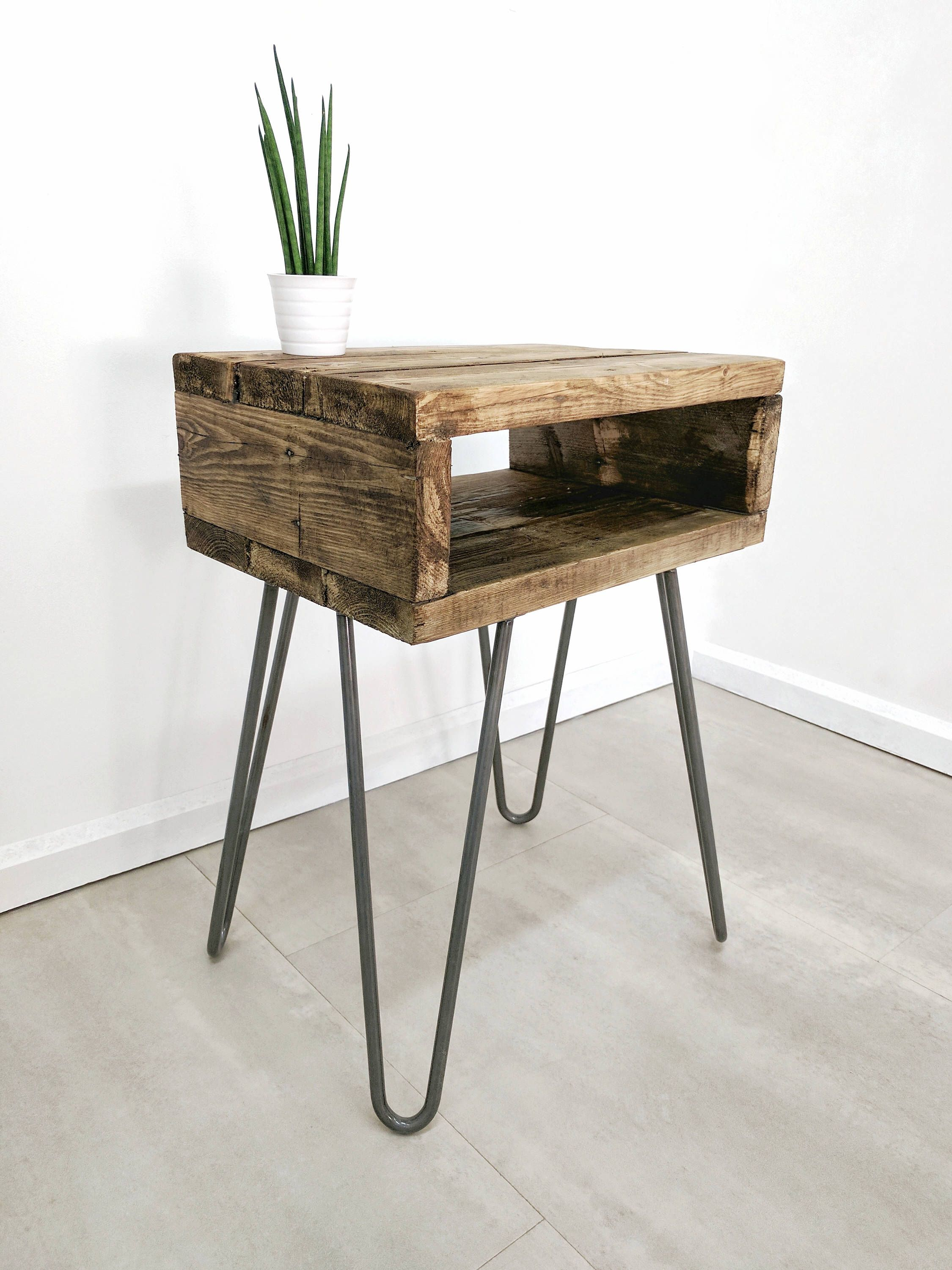 Reclaimed Wood Bedside Table Noa In Medium Oak Night Table Boho Plant Stand Chunky Side Table With Retro Side Table Boho Bedside Table Wood Bedside Table