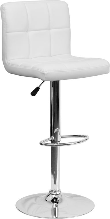 Awe Inspiring Contemporary White Quilted Vinyl Adjustable Height Barstool Pdpeps Interior Chair Design Pdpepsorg