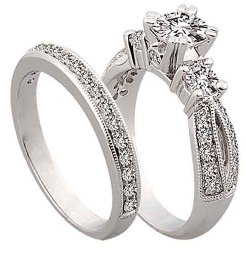 ENGAGEMENT RING WITH MATCHING WEDDING BAND DIAMOND SET 186CT