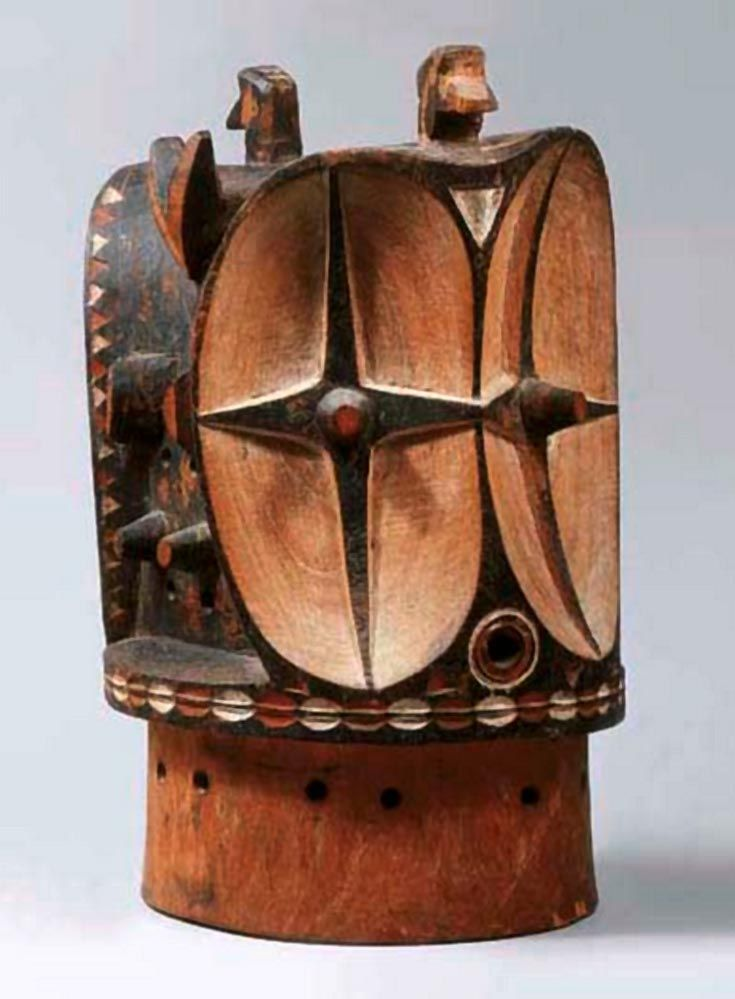 Africa | Helmet mask ~ kalunga ~ from the Bembe people of DR Congo | Wood and pigment