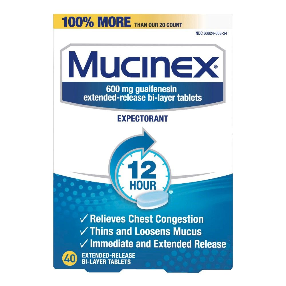 Mucinex 12 Hour Chest Congestion Expectorant Tablets 40ct