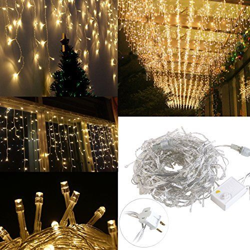 LEORX 216 LED Icicle Lights 8 Modes IndoorOutdoor Great for New - solar christmas decorations