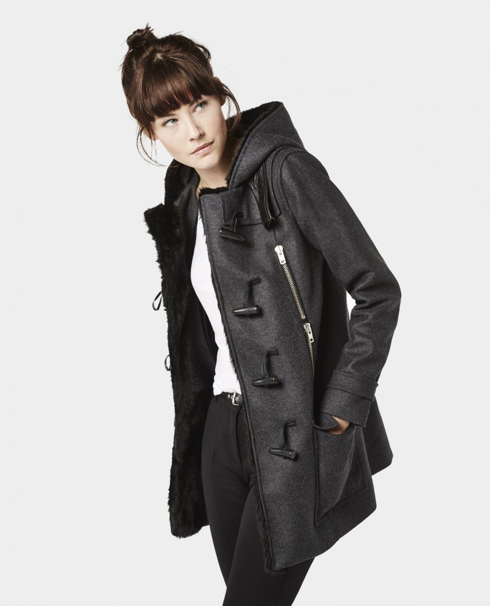 duffle coat en drap de laine d tails en cuir et fourrure manteaux femme the kooples my. Black Bedroom Furniture Sets. Home Design Ideas