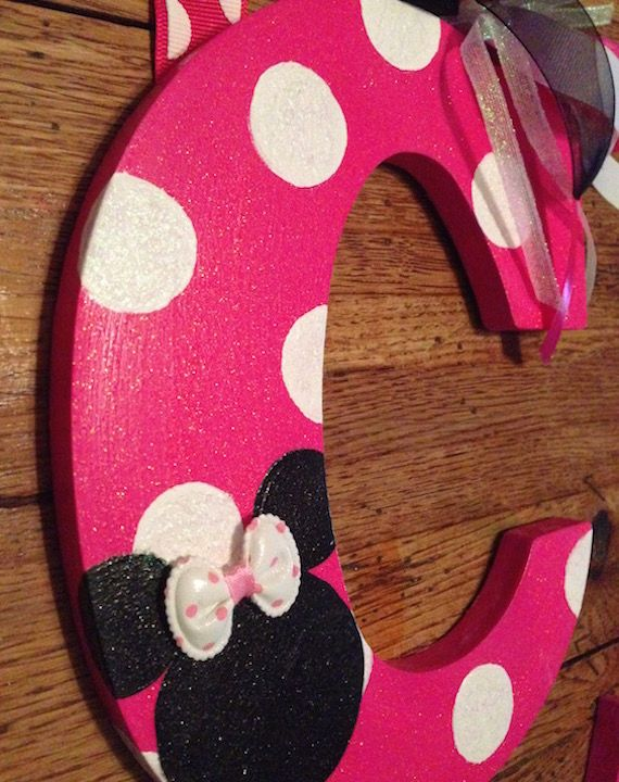 minnie mouse wooden letters diy painted wood disney. Black Bedroom Furniture Sets. Home Design Ideas