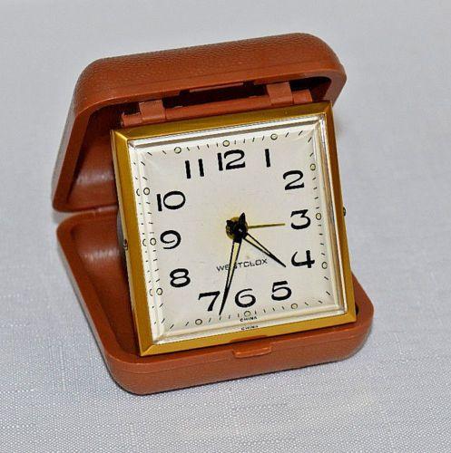 Vintage Retro Style Westclox Wind Up Travel Alarm Clock W Brown Case