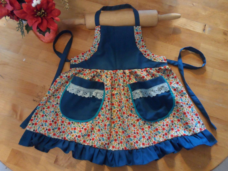 Blue apron kitchen - Flower Prussian Blue Apron Girl Apron Kids Apron Toddler Apron Play Apron Kitchen Apron Art Apron