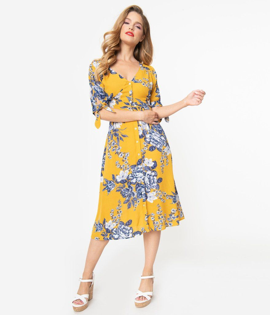 Mustard Yellow Blue Floral Button Down Midi Dress Unique Vintage Blue And Yellow Dress Dressy Fashion Outfits White Flower Dress [ 1023 x 879 Pixel ]