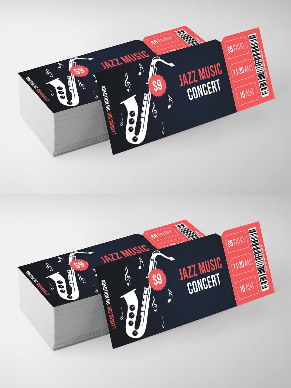 Jazz music ticket pass templates ticket design music