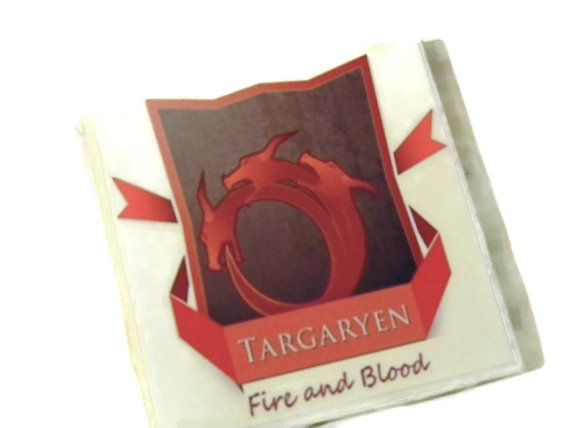 Game of Thrones Coasters House Targaryen Fire and Blood Set of Four  (Hand Brushed Glossy Finish)