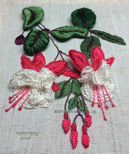 Fuchsia Stumpwork Embroidery Embroidery Flowers Pattern Stumpwork Embroidery Kits