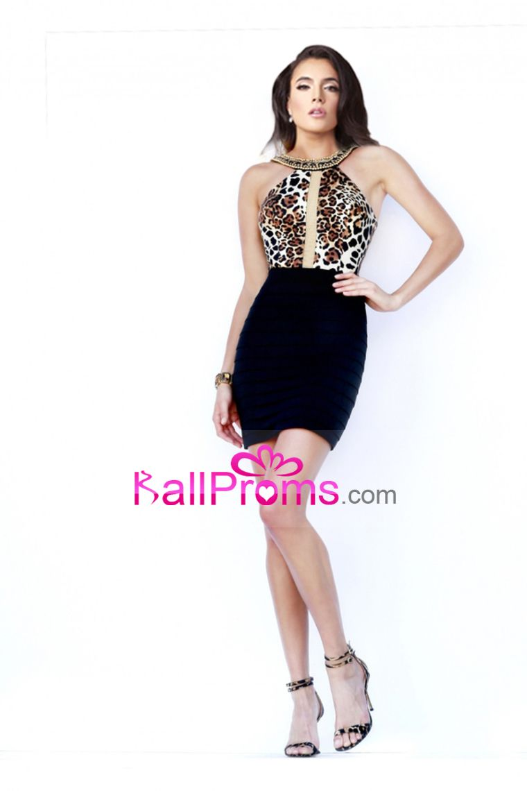 floral prints prom dresses sheath scoop with beading shortmini