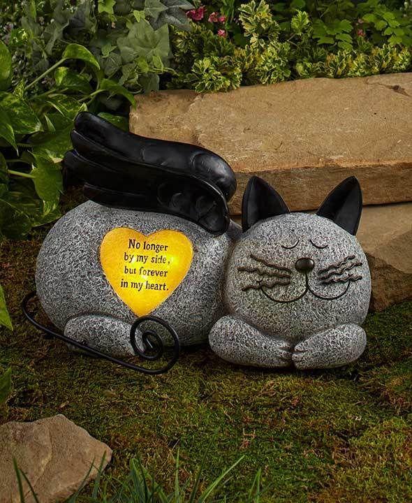 Pet Grave Markers Cat Memorial Burial Marker Statue Solar Garden Ornaments    Go Shop Pet Supplies