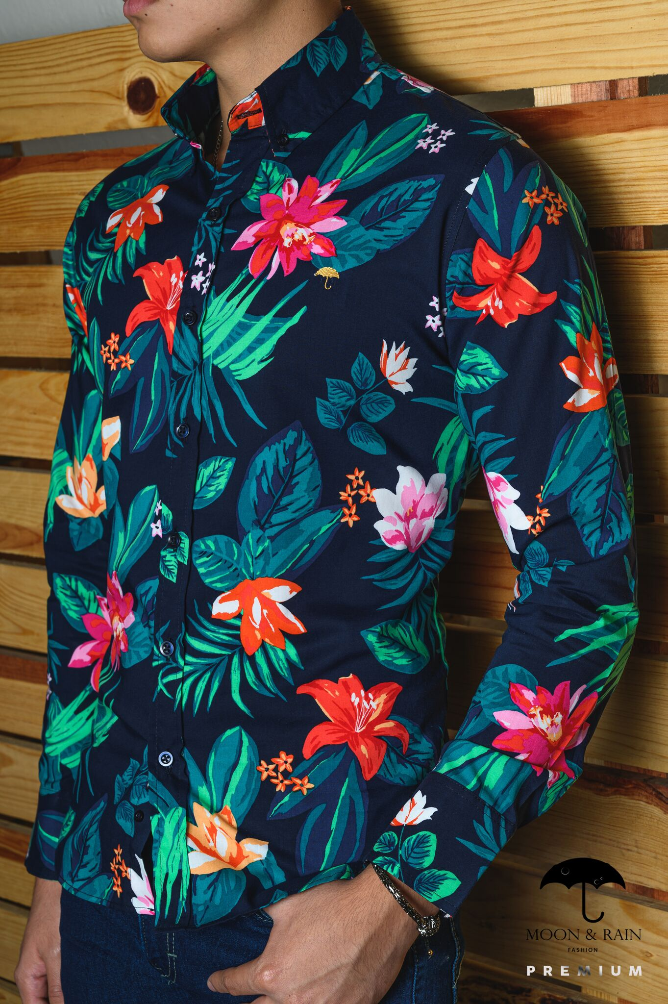 Camisa Marino Hojas en 2020 Camisas de moda para hombres