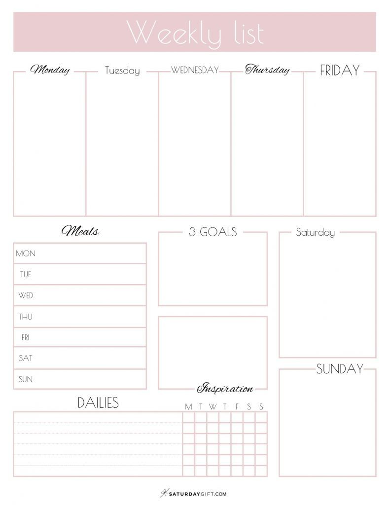 Weekly List Planner {Free Printable}