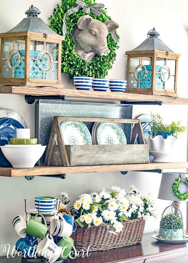Early Summer Rustic Farmhouse Open Shelf Decor | Worthing Court