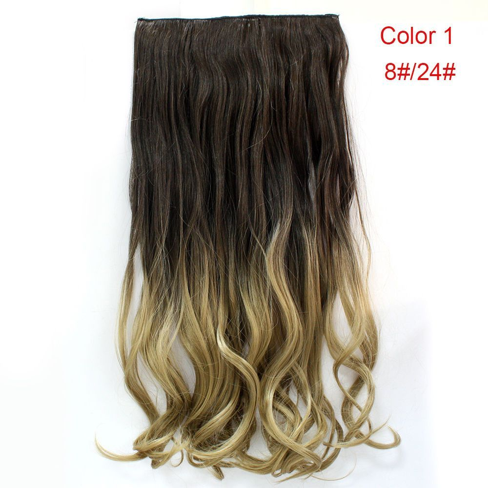 24 60cm Curly Wavy 34 Full Head Clip In Hair Extensions Ombre