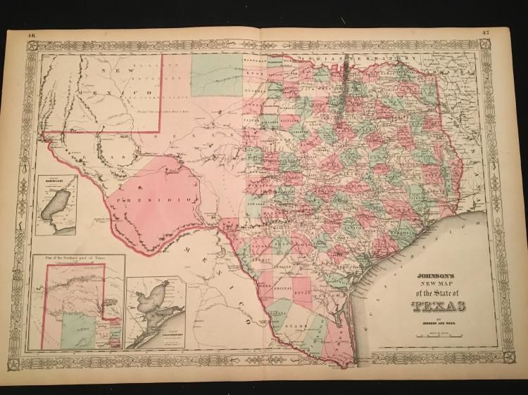 New Map Of Texas.Johnson S New Map Of The State Of Texas 1864 Maps Unlimited