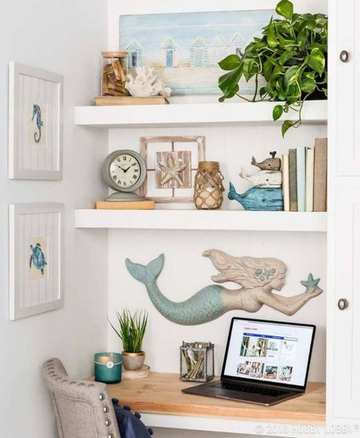 Photo of Home Office Design Ideas with a Coastal Beach Theme