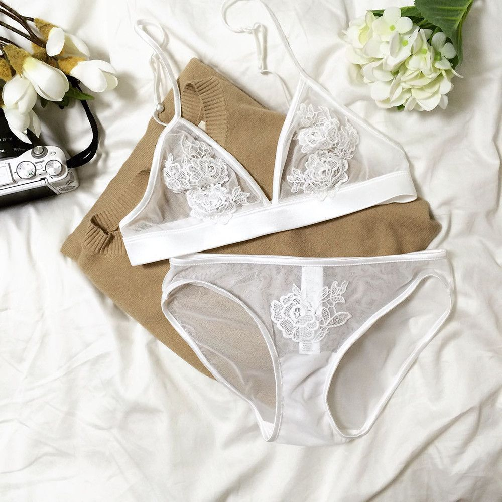 7cf53eb0bf Sexy Floral Embroidered Bralette Set - White