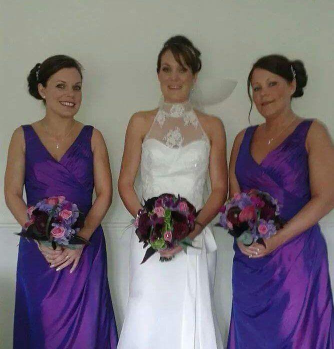 Sisters wedding 2014....I'll cherish this day always#sisters #wedding #bride #bridesmaidsdress #bridesmaids #friendship #love #weddingdress #purple #bridalflowers #flowers by fayeelise77