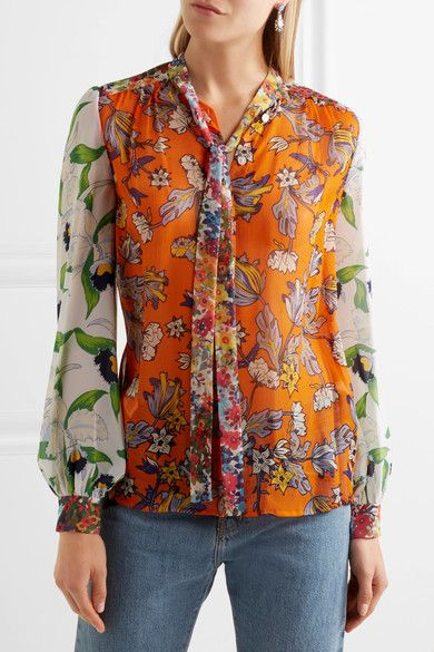 Tory Burch Woman Pussy-bow Printed Cotton Blouse Bright Orange Size 0 Tory Burch