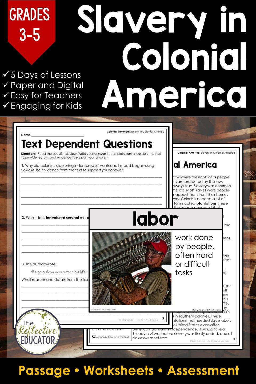 Slavery In Colonial America Social Studies Social Studies Worksheets Social Studies Elementary Slavery