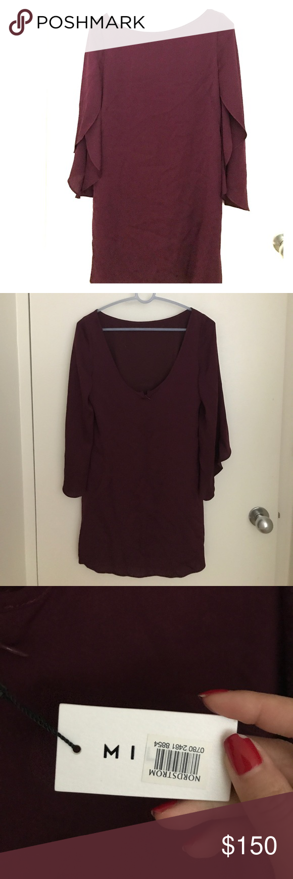 MILLY Silk flutter sleeve dress Flutter sleeve dress
