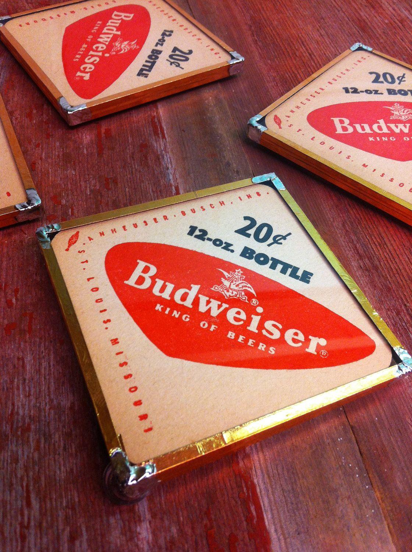 12 Budweiser  Beer  Bar Coasters Black w// Bowtie