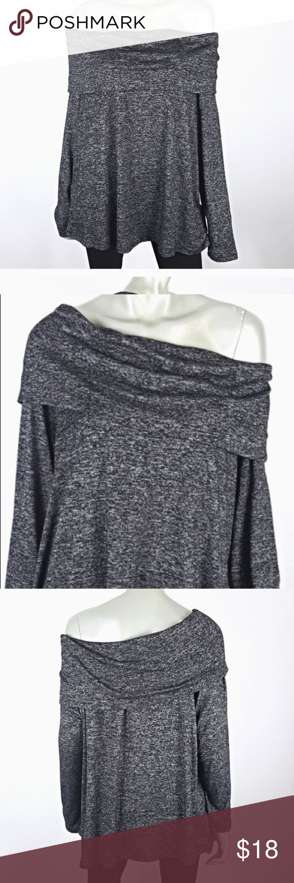 50b364b0a31 COMO Vintage- gray off the shoulder top- size 3X Stylish and comfortable  top from