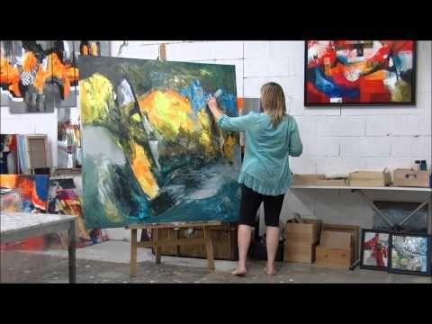 D monstration de peinture abstraite par jadis youtube for Toile abstraite