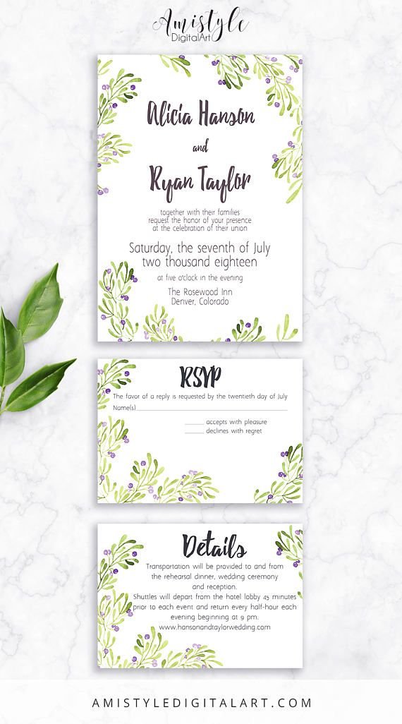 f2009256accf Printable Bridal Shower Invitation card - with watercolor olive branches by  Amistyle Digital Art on Etsy
