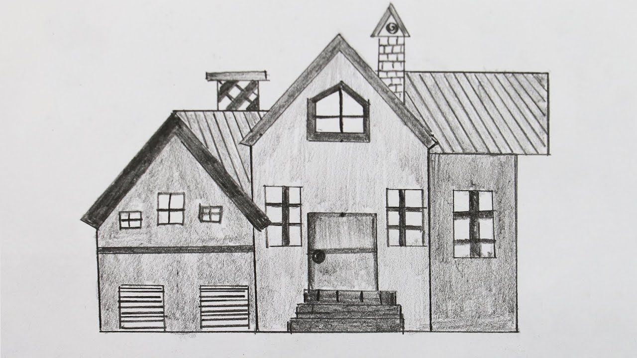 How to draw a house for kids easy house drawing tutorial