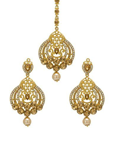 Engagement & Wedding Jewelry & Watches Bindhani Indian Wedding Head Gold Plated Jewelry Maang Tikka Earrings For Women