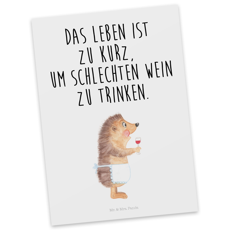 Postkarte Igel mit Wein aus Karton 300 Gramm weiß - Das Original von ...