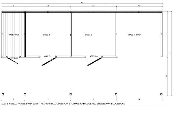 Horse barn layout 22x42 3 stall horse barn with tack for Two stall barn plans