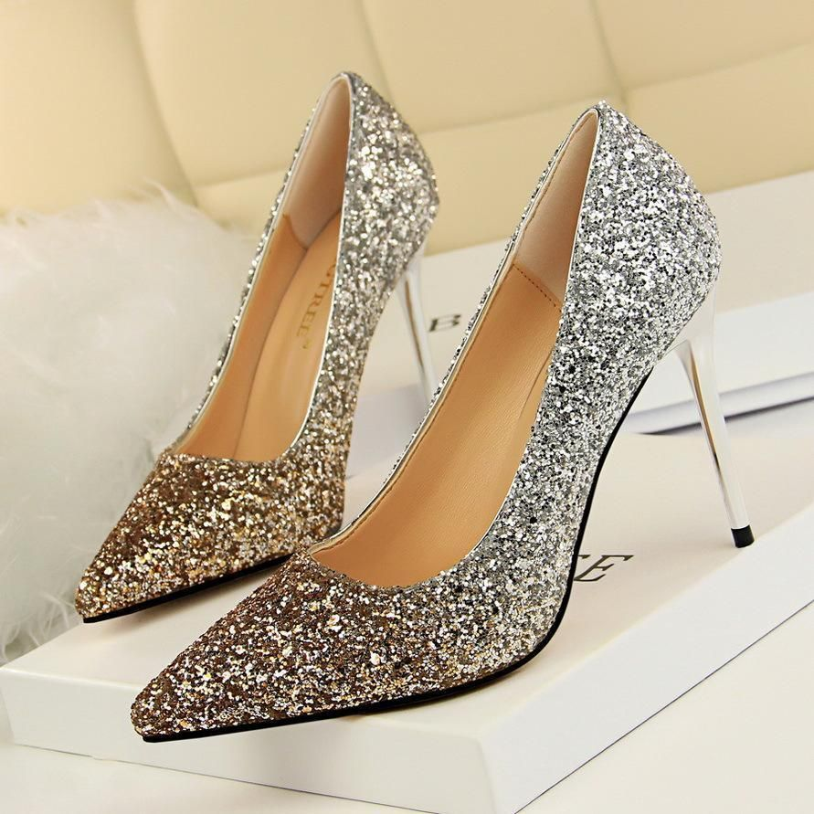 f7192ee1fe5 Shinning Sequins Pointed Toe Stiletto High Heels Party Dress Shoes ...