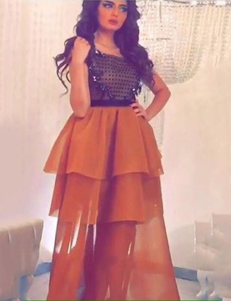 New Elegant Women Arabic Evening Dresses Long 2016 Tiered Organza ...